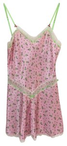 Betsey Johnson Silky Flowers Pattern Adjustable Lace Trim Top pink