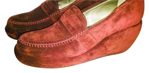 Robert Clergerie Plum Suede Leather Paris tam prunus d plomb Wedges