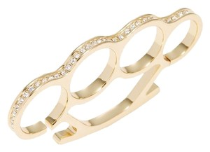 nOir Noir Jewelry Pave CZ 4-Finger Ring 6 Gold/Clear