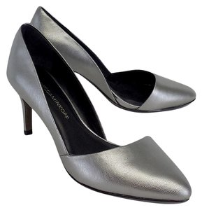 Rebecca Minkoff Silver Leather D'orsay Heels Pumps