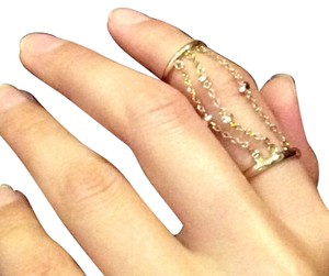 Rebecca Minkoff Double Gold Ring With Crystals And Chains