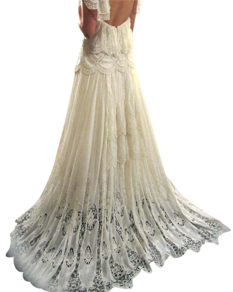 Rue De Seine Off White Embroidered Cotton Silk Gown From France ...