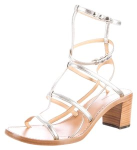 Isabel Marant Strappy Metallic Gladiator Silver Sandals