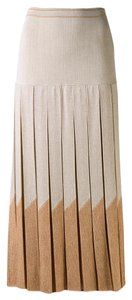 Sonia Rykiel Midi Pleated Metallic Italian Skirt Multi