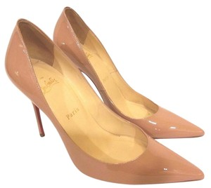 Christian Louboutin Pointed Toe Low-dipped Collar Patent Leather Nude Blush #2 Pumps