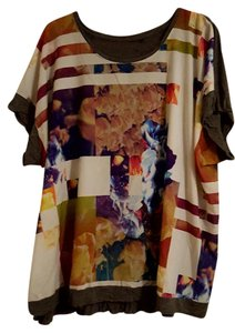 Apt. 9 Summer Jersey Plus-size T Shirt Multi-Colored with Grey Back