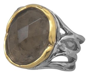 Other (New) Rhodium Plated and 14 Karat Gold Plated Smoky Quartz Ring