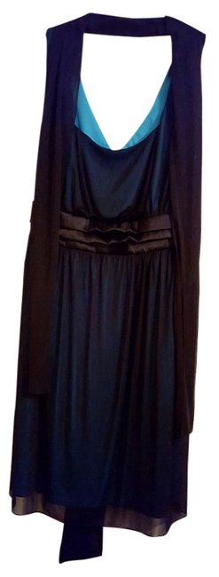 Item - Black and Cerulean Mid-length Cocktail Dress Size 24 (Plus 2x)