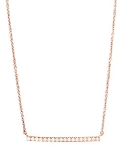 Other (New) 14 Karat Rose Gold Plated Sterling Silver CZ Bar Necklace