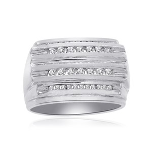 Avital & Co Jewelry 0.65 Carat Channel Setting Mens Round Cut Diamond Ring 14k White Gold