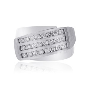 Avital & Co Jewelry 1.00 Carat Channel Setting Mens Round Cut Diamond Ring 14k White Gold