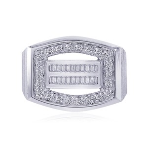 Avital & Co Jewelry 14k White Gold 0.50 Carat Pave Round Cut and Baguette Cut Diamonds Ring Wg Men's Wedding Band