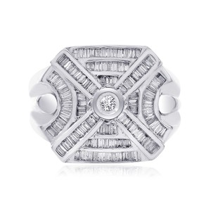 Avital & Co Jewelry 1.50 Carat Baguette And Round Cut Center Diamond Mens Ring 14k Wg