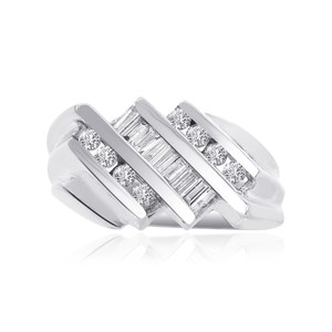 Avital & Co Jewelry 0.70ct Round And Baguette Cut Channel Setting Diamond Mens Ring 14wg