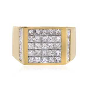 Avital & Co Jewelry 3.00 Carat Princess Cut Invisible Setting Mens Ring 14k Yellow Gold