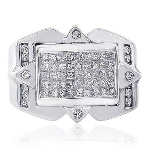 Avital & Co Jewelry 1.25 Carat Round Cut And Princess Cut Diamonds Mens Ring 14k Wg