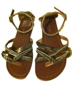 Madden Girl gunmetal with bronze, silver & gold beads Sandals