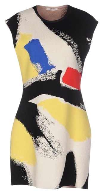 Item - Black/Red/Yellow/White/Blue Spring 2014 Runway Short Casual Dress Size 12 (L)