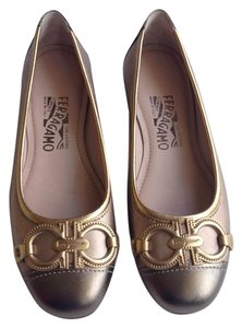 Salvatore Ferragamo Darleen Metallic Leather Gancini Pewter, Gold, Silver, Rose Gold Flats