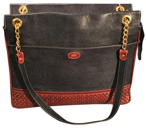 Bally Tote in Black And Brown Pebbled Leather And Brown Woven Leather Accents