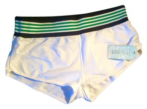 Jet Set New Mini/Short Shorts White with green and blue elastic band