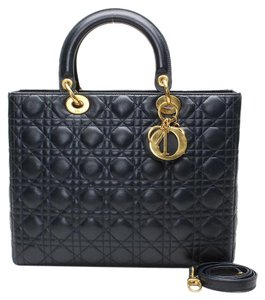 Dior Lady Cannage Tote Quilted Lady Diana Satchel in Black