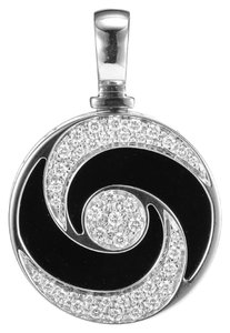 BVLGARI SH-BGJ0013 Bvlgari 18k White Gold Diamonds Agate Conch Pendant