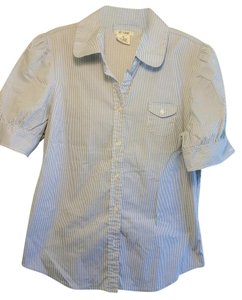 At Last & Company Button Down Shirt White with blue Strips