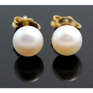 14k Yellow Gold, Freshwater, White, 5mm Pearl Stud Earrings