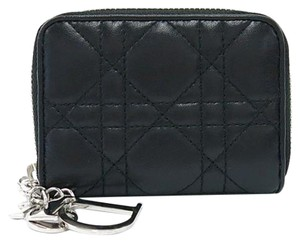 Dior Christian Dior Lady Dior Cannage Black Coin Case Leather Wallet