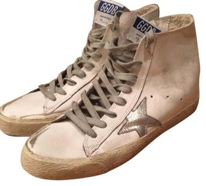 Golden Goose Deluxe Brand White with silver star and details Athletic