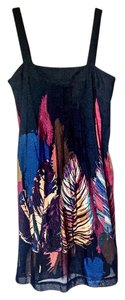 Max Mara short dress Navy with multi color prints Blue Silk-cotton on Tradesy