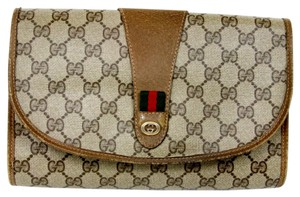 Gucci Canvas Leather Bamboo Jumbo Brown Clutch