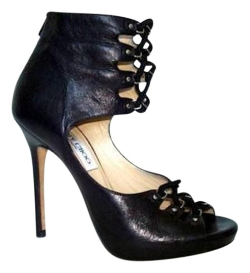 Jimmy Choo Adore Leather Lace Front Peep Toe High Heel Black Pumps