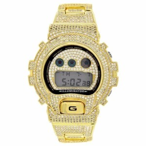G-Shock Custom Gshock Dw6900 Full Iced Out 14k Gold Plated White Simulated Diamonds Mens