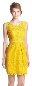 Jenny Yoo V-back Bateau Neckline Vintage Yellow Lace Classic Dress