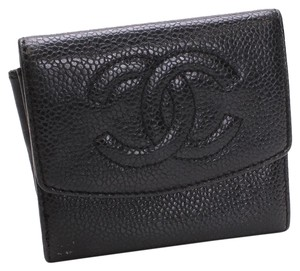 Chanel Chanel Caviar Black Leather CC Small Short Wallet Bifold