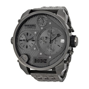 Diesel Diesel Badass Oversized Gray Dial Gunmetal Pvd Mens Watch