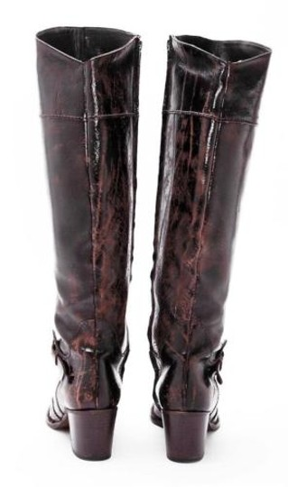 Henry Beguelin Distressed Leather Heel Knee High Brown Boots