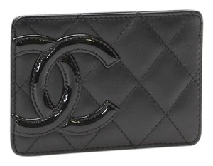 Chanel CHANEL CC Logo Cambon Patent Leather Card Holder with BOX