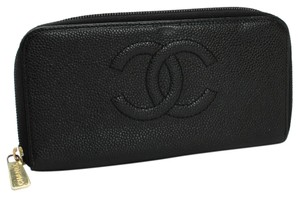 Chanel Chanel Black Caviar Leather CC Zip up Biflod Long Wallet