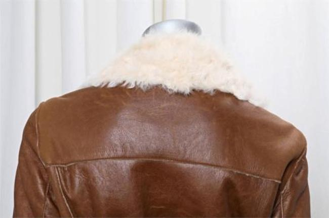 Burberry Womens Leather Shearling Fur Trench Belted Long Jacket Trench Coat