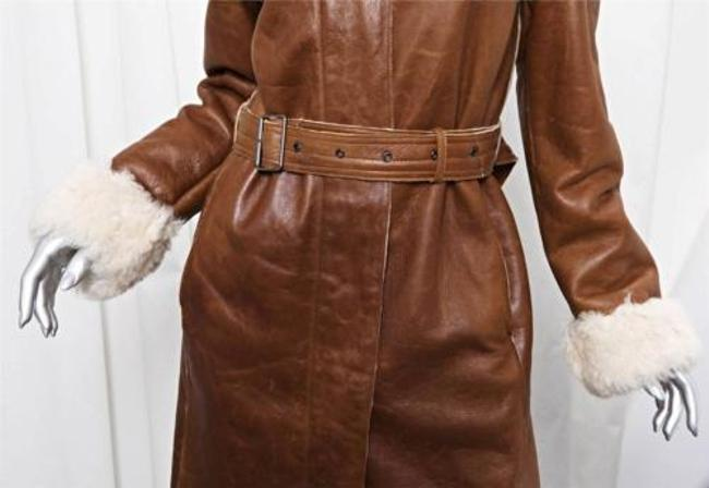 Burberry Womens Leather Shearling Fur Belted Long Jacket Trench Coat