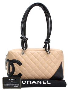 Chanel Quilted Lambskin Leather Cambon Satchel in Beige