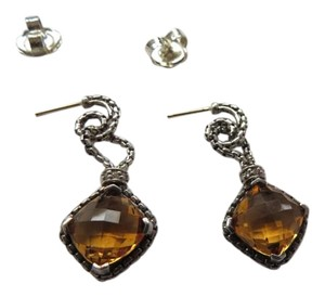 David Yurman Cushion on Point Citrine Drop Earrings w/ Pave' Diamonds