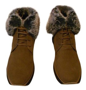 "Aquatalia ""Jacoba"" Faux Fur Trim Weatherproof Stylish Made In Italy Brown Boots"