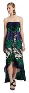 BCBGMAXAZRIA Hi Lo Ruffled Animal Print Dress
