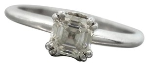 Other Ladies Platinum 18K White Gold Asscher Cut Diamond Engagement Ring