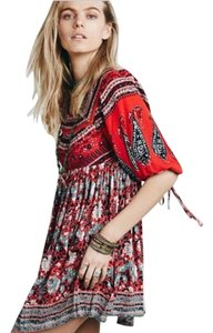 Free People short dress Red Poppy Combo Boho 3/4 Sleeve Sold Out on Tradesy