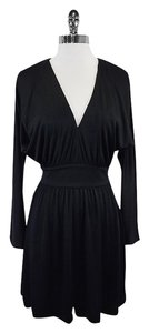 Halston short dress Black Long Sleeve V-neck on Tradesy
